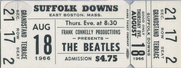 Original BEATLES 1966 Suffolk Downs Unused Ticket