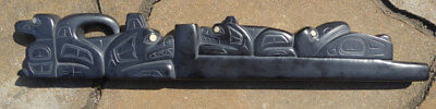 Northwest Coast HAIDA Argillite Panel PIPE Signed Outstanding Tribal