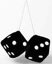 Car, Caravan & Home Mini Black & White Fluffy Furry Hanging Mirror Spotty Dice