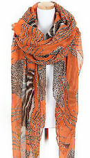 ladies Orange Zebra or Leopard Printing Long Scarf