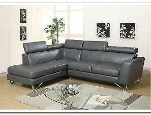 SUMMER SALE ON NOW 2PCS AIR LEATHER SECTIONAL WITH ADJUSTABLE HEAD REST $799 LOWEST PRICES GUARANTEED