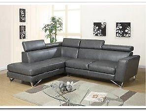 FALL SALE ON NOW 2PCS AIR LEATHER SECTIONAL WITH ADJUSTABLE HEAD REST $799 LOWEST PRICES GUARANTEED