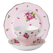 Royal Albert - New Country Roses Pink Tea Cup Saucer and Plate Set  BRAND NEW