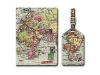 Wolf and Wild map passport cover and luggage tag gift box set