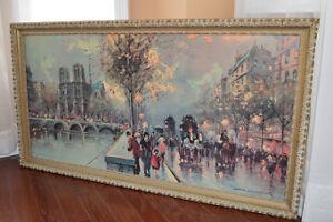 Painting Paris Street Scene Louis Dancourt