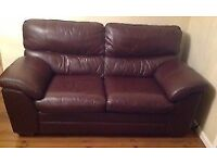 Excellent condition, brown leather sofa