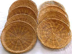 Bamboo Paper Plate Holders & Wicker Plate Holder u0026 Image Is Loading Random-Lot-14-Wicker-Rattan ...