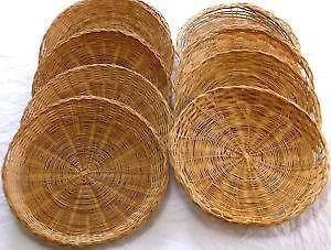 Bamboo Paper Plate Holders & Wicker Plate Holder u0026 Image Is Loading Random-Lot-14-Wicker-Rattan ...