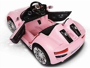 Kids ride on cars porche 911 style pink and red 12 v