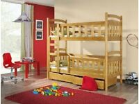 Kids wooden bunk beds detachable, frame only (no mattresses included)