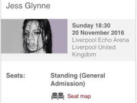 Jess Glynne Tickets x 4 Liverpool Arena in STANDING -event Now Sold out price is per ticket