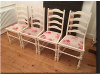 Set of 4 Shabby Chic Kitchen / Dining Chairs (no Table)