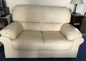 Cream Faux Leather Sofa