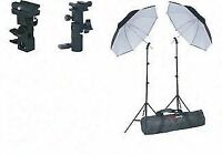 Speedlite and umbrella holder and kit