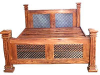 New. Solid wood and metal King size bed 150 cm Handmade from India