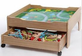 Kids wooden train track, table and storage drawer