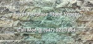Silver Fireplace Stone Veneer Grey Fireplace Wall Cladding