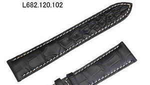 NEW Longines 20mm Black Alligator Leather strap white stitch