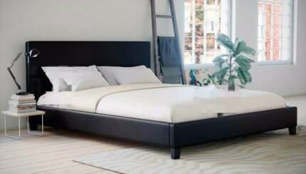 [Brand New] Queen Size PU Leather (black) Bed Frame for sale.