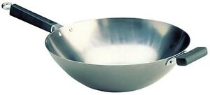 Joyce Chen 22-0060, Pro Chef 14-Inch Flat Bottom Wok uncoated Carbon Steel New