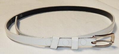 50's NOS Men's Thin White Leather Rockabilly Belt - 50s Belt