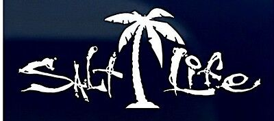 "SALT LIFE PALM TREE & SIGNATURE ""WHITE"" UV Rated Viny DECAL *FREE SHIPPING*"