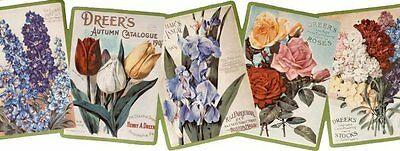 Colorful Vintage Flower Catalogs Wallpaper Border
