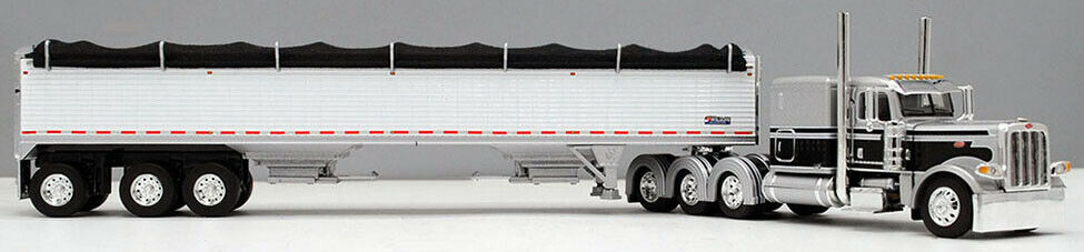 DCP 1/64 Silver Black 389 Peterbilt Tri-Axle Wilson Grain Trailer 60-0736