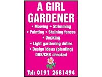 A GIRL GARDENER mowing / pet grave design / weeding. Light maintenance NORTH TYNESIDE