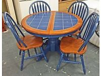 Blue Tiled Toped Extendable Dining Table 4 x Chairs