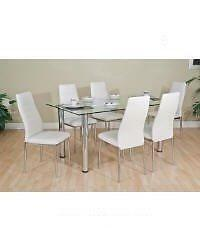 7PCS  MODERN GLASS  DINING TABLE SET $499