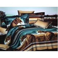 Todd Linen African Lion Safari Queen Reversible Duvet Quilt