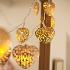 10 LED Gold or Silver Heart Lights - Brand New - Kilmarnock Area