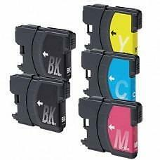 5 Pack 2BK/1C/1Y/1M Combo Brother LC61 Ink Cartridge New Compatible