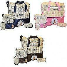 New Todd Baby 5pc Diaper Nappy Changing Shoulder Bottle Food Bag