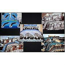 Todd Linen Animal Design 3 Pcs Queen Reversible Duvet Cover New