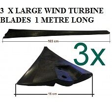 Wind Turbine Blades 1-2 Kilowatt (KW) - Wind Generator - Black - 3 Piece