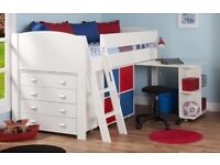 Stompa Uno Childs mid sleeper bed with pull out desk, 4 box unit with 2 doors, and 4 draw chest