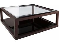Dwell dark oak frame glass coffee table