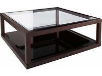 Dwell dark oak frame glass coffee table