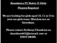 PLAYERS WANTED FOR GIRLS TEAM!