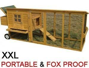 Chicken coop and run as new large on wheels portable for Portable chicken coop on wheels