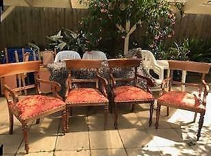 4 pcs-Mahogany-Wood-Wide-Antique-Vic Style Lounge Chairs