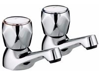 Bristan Value Club Basin Taps, Chrome Plated with Metal Heads