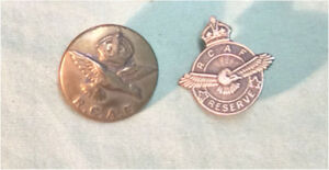 RCAF Royal Canadian Air Force WWII Button and Reserve Pin