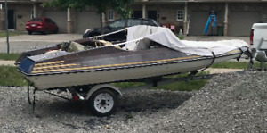 1975 Tempest with Trailer and Ski Poles