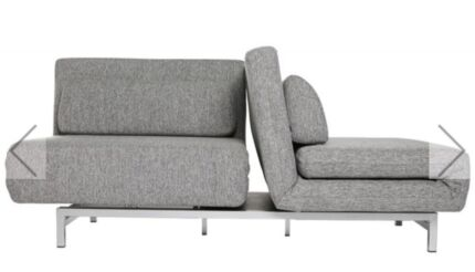 Compact Grey Fabric Modern Couch/ Sofa Bed, Flexible Design