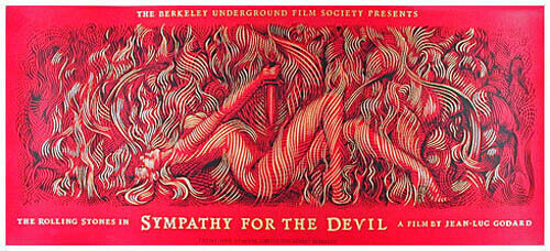 Rare Rolling Stones Sympathy For The Devil Silkscreen Movie Poster - Stunning!