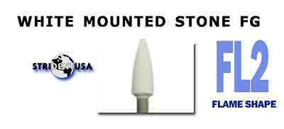 White Mounted Stone Bur Fg Fl2 Flame Shape  12 Per Box  Mounted Abrasion Point