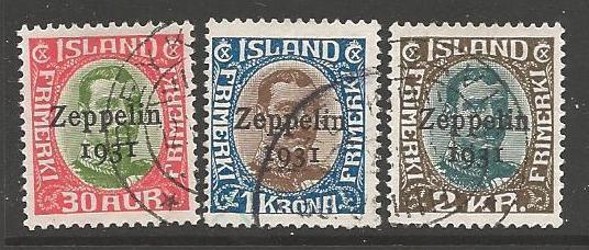 ICELAND SG179/81 1931 ZEPPELIN OVERPRINTS FINE USED